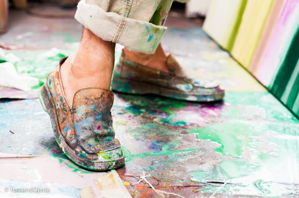 Retratos al pintor Miguel Panadero en su estudio de pintura
