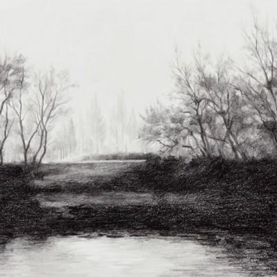 3-El Ebro, Aradón, invierno. 2013. Grafito sobre papel Schoeller. 26 x 65 cm